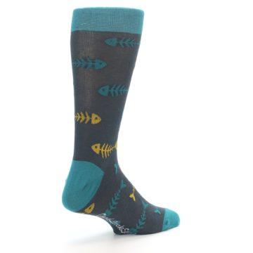 Image of Grey Teal Yellow Fish Bones Men's Dress Socks (side-1-back-22)