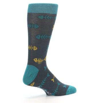 Image of Grey Teal Yellow Fish Bones Men's Dress Socks (side-1-23)