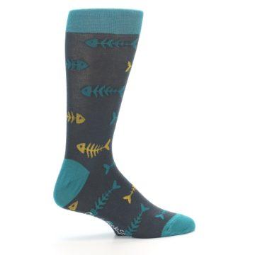 Image of Grey Teal Yellow Fish Bones Men's Dress Socks (side-1-24)