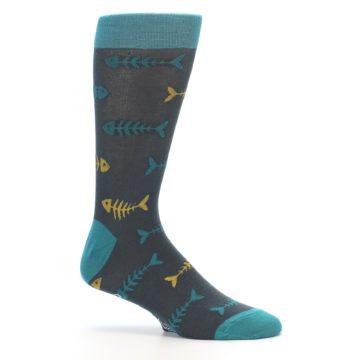 Image of Grey Teal Yellow Fish Bones Men's Dress Socks (side-1-25)
