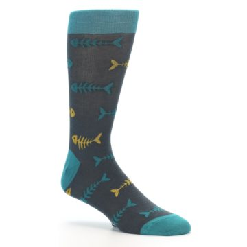 Image of Grey Teal Yellow Fish Bones Men's Dress Socks (side-1-26)