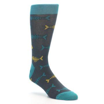 Image of Grey Teal Yellow Fish Bones Men's Dress Socks (side-1-27)