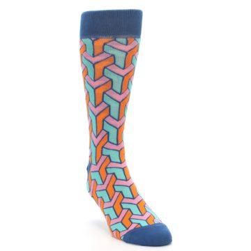 Image of Orange Pink Aqua Geometric Men's Dress Socks (side-1-front-02)
