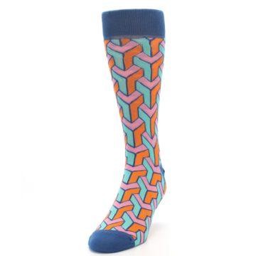 Image of Orange Pink Aqua Geometric Men's Dress Socks (side-2-front-06)