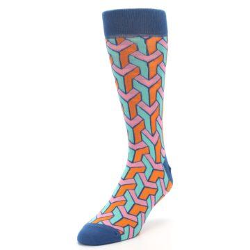 Image of Orange Pink Aqua Geometric Men's Dress Socks (side-2-front-07)