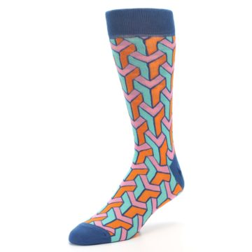 Image of Orange Pink Aqua Geometric Men's Dress Socks (side-2-front-08)