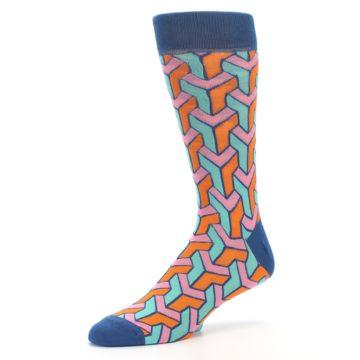 Image of Orange Pink Aqua Geometric Men's Dress Socks (side-2-09)