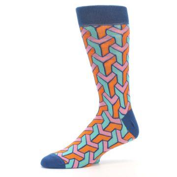 Image of Orange Pink Aqua Geometric Men's Dress Socks (side-2-10)