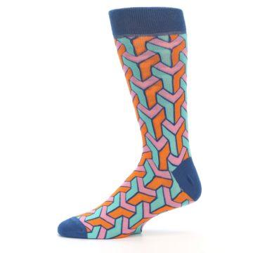 Image of Orange Pink Aqua Geometric Men's Dress Socks (side-2-11)