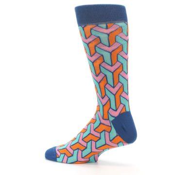 Image of Orange Pink Aqua Geometric Men's Dress Socks (side-2-13)