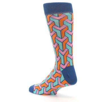 Image of Orange Pink Aqua Geometric Men's Dress Socks (side-2-back-14)