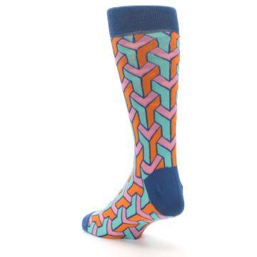 Image of Orange Pink Aqua Geometric Men's Dress Socks (side-2-back-15)