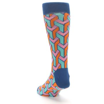 Image of Orange Pink Aqua Geometric Men's Dress Socks (side-2-back-16)