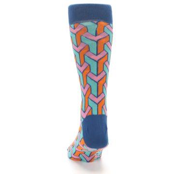Image of Orange Pink Aqua Geometric Men's Dress Socks (back-17)