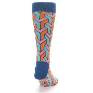 Image of Orange Pink Aqua Geometric Men's Dress Socks (back-19)