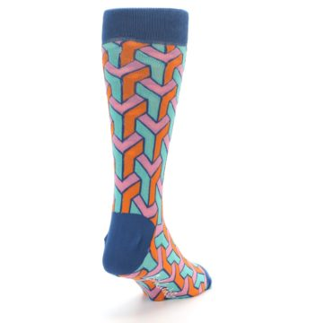 Image of Orange Pink Aqua Geometric Men's Dress Socks (side-1-back-20)