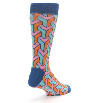 Image of Orange Pink Aqua Geometric Men's Dress Socks (side-1-back-21)