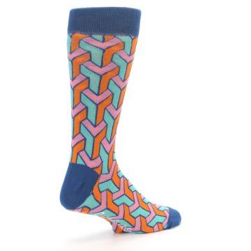 Image of Orange Pink Aqua Geometric Men's Dress Socks (side-1-back-22)