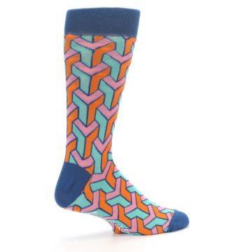 Image of Orange Pink Aqua Geometric Men's Dress Socks (side-1-23)
