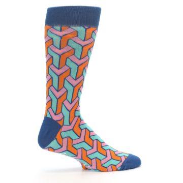Image of Orange Pink Aqua Geometric Men's Dress Socks (side-1-24)