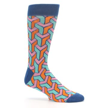Image of Orange Pink Aqua Geometric Men's Dress Socks (side-1-25)