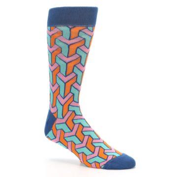 Image of Orange Pink Aqua Geometric Men's Dress Socks (side-1-26)