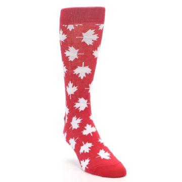 Image of Red White Canada Leaf Men's Dress Socks (side-1-front-02)