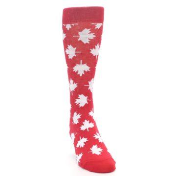 Image of Red White Canada Leaf Men's Dress Socks (side-1-front-03)