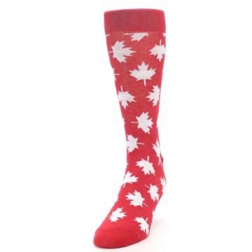 Image of Red White Canada Leaf Men's Dress Socks (side-2-front-06)