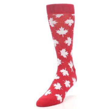 Image of Red White Canada Leaf Men's Dress Socks (side-2-front-07)