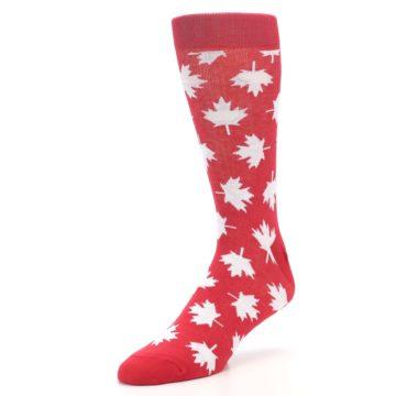 Image of Red White Canada Leaf Men's Dress Socks (side-2-front-08)