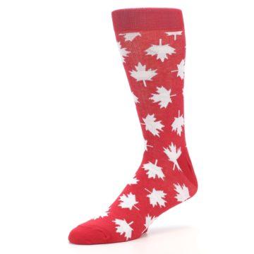 Image of Red White Canada Leaf Men's Dress Socks (side-2-09)