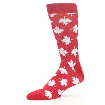 Image of Red White Canada Leaf Men's Dress Socks (side-2-10)