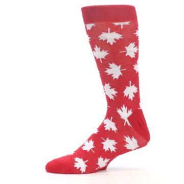 Image of Red White Canada Leaf Men's Dress Socks (side-2-11)