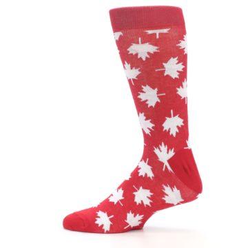 Image of Red White Canada Leaf Men's Dress Socks (side-2-12)