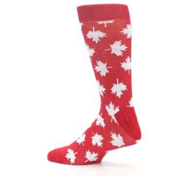Image of Red White Canada Leaf Men's Dress Socks (side-2-13)
