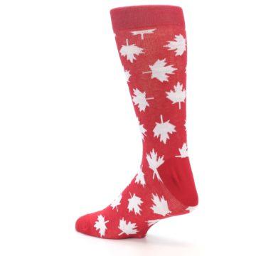 Image of Red White Canada Leaf Men's Dress Socks (side-2-back-14)