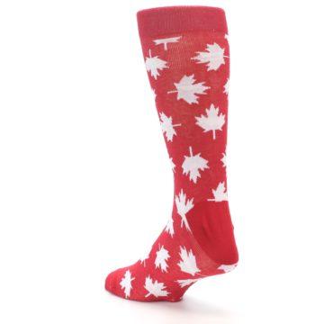 Image of Red White Canada Leaf Men's Dress Socks (side-2-back-15)