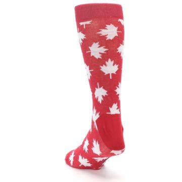 Image of Red White Canada Leaf Men's Dress Socks (side-2-back-16)