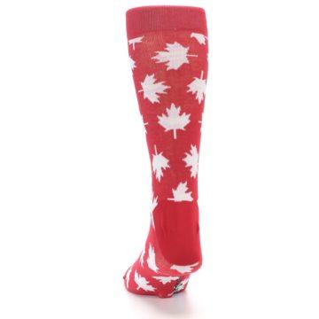 Image of Red White Canada Leaf Men's Dress Socks (back-17)