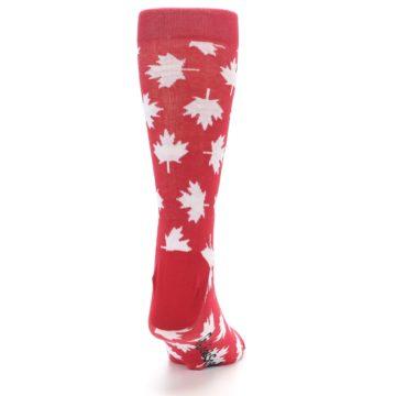 Image of Red White Canada Leaf Men's Dress Socks (back-19)