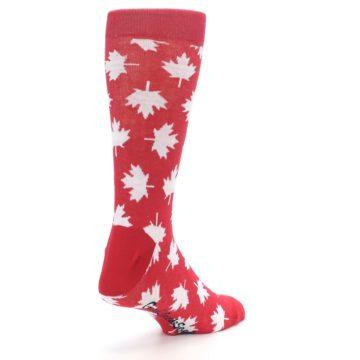 Image of Red White Canada Leaf Men's Dress Socks (side-1-back-21)