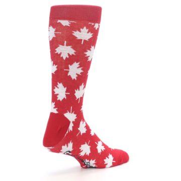 Image of Red White Canada Leaf Men's Dress Socks (side-1-back-22)
