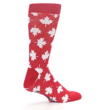 Image of Red White Canada Leaf Men's Dress Socks (side-1-23)