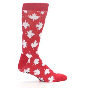 Image of Red White Canada Leaf Men's Dress Socks (side-1-24)