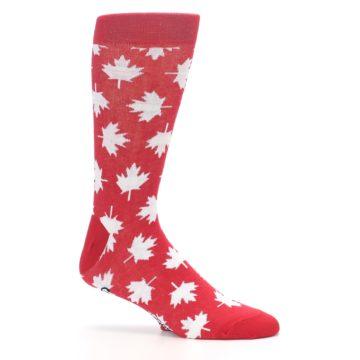 Image of Red White Canada Leaf Men's Dress Socks (side-1-25)