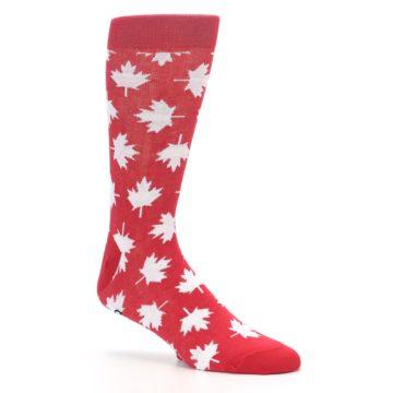 Image of Red White Canada Leaf Men's Dress Socks (side-1-26)
