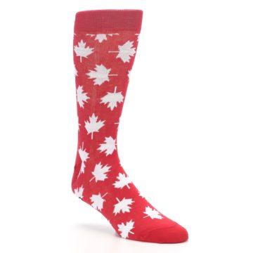 Image of Red White Canada Leaf Men's Dress Socks (side-1-27)