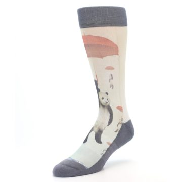 Image of Panda with Umbrella Men's Casual Socks (side-2-front-08)