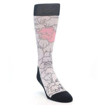 Image of Grey Pink Elephants Men's Casual Socks (side-1-front-02)
